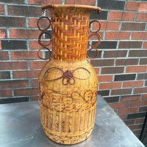 Vintage Accents - Vintage Boho Wicker Rattan Woven Vase Basket Decor